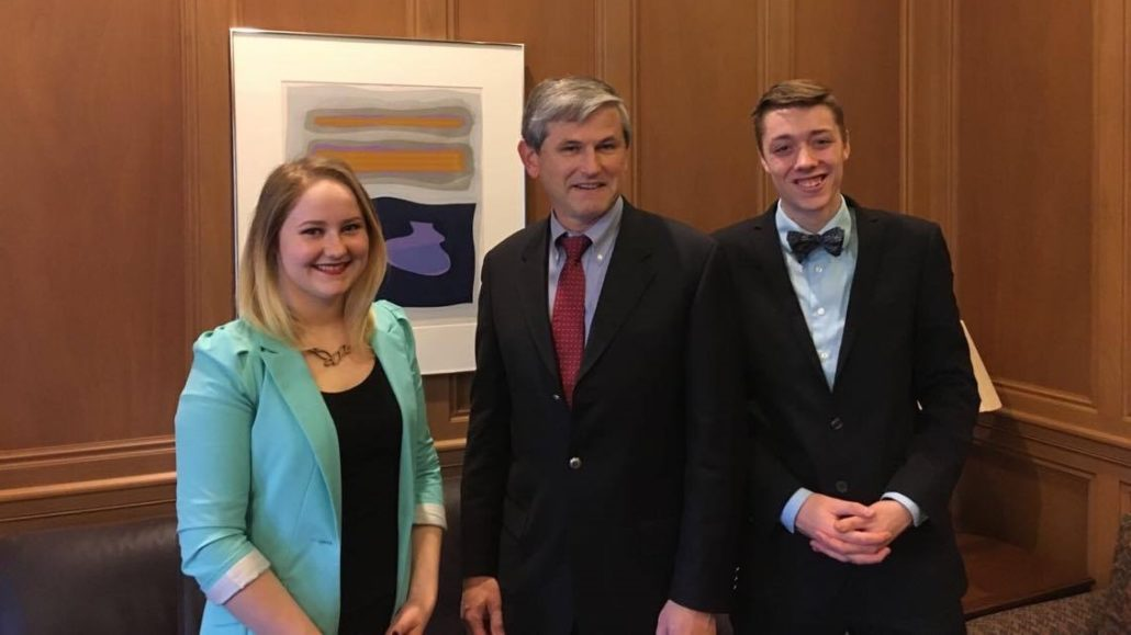 Director of Campaigns and Community Relations, Maxwell Nicholson and Director of Student Affairs, Emma Kinakin meet with Minister Wilkinson to lobby on provincial student issues.